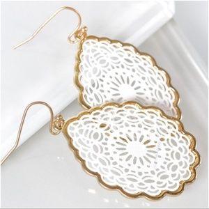 White Mandala Teardrop Earrings